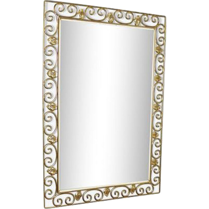 Vintage mirror in gold wrought iron, 1940s