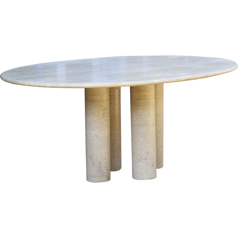 Large vintage oval table by Mario Bellini Colonnata 2 in travertine, 1970