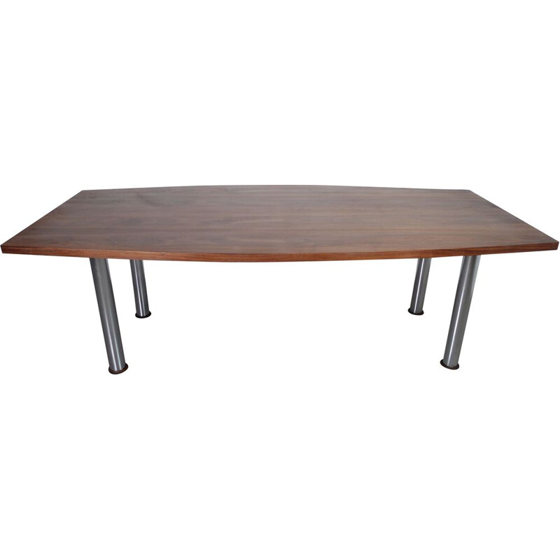 Hull shaped walnut vintage dining table, Germany, 1970s