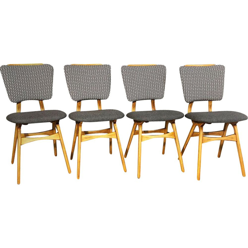 Set of 4 grey vintage chairs, 1960s