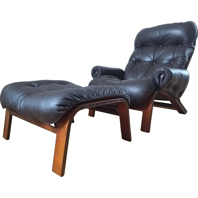 Leather armchair with ottoman by RyBo Rykken and Oddvin Rykken, 1970s.