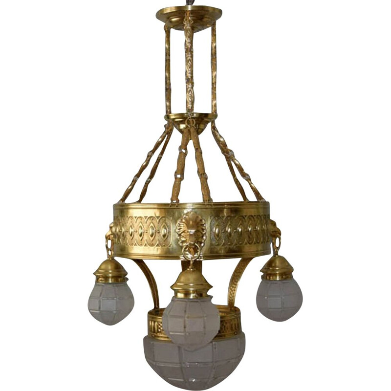 Vintage brass and glass chandelier, 1910s