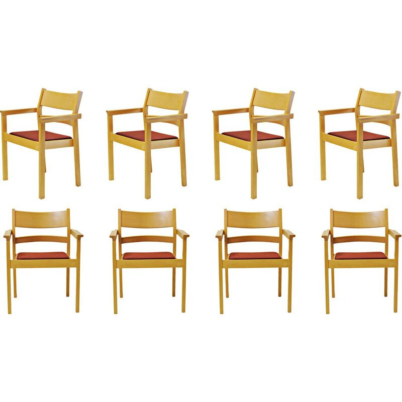 Set of 8 vintage beech armchairs by Hans J. Wegner