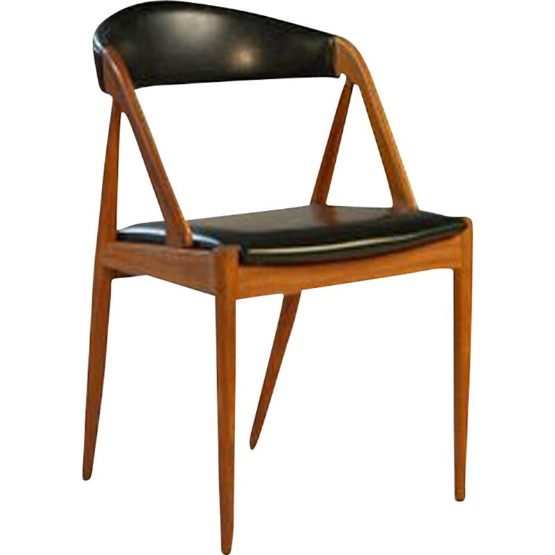 Vintage dining chair in teak and black skaï by Kai Kristiansen