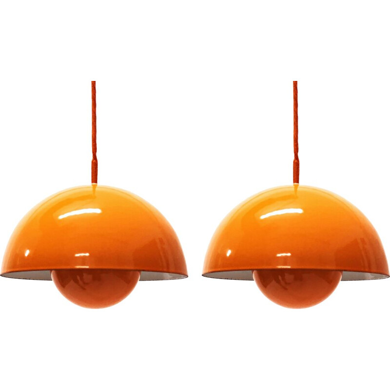 "Set of 2 vintage ""Flowerpot"" pendant lights by Verner Panton for Louis Poulsen, Denmark"