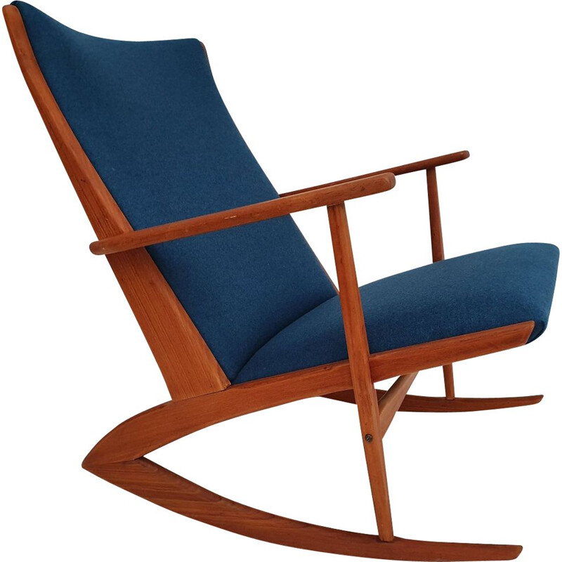 Vintage teak and wool rocking chair by Holger Georg Jensen,1960s