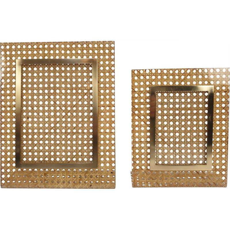 Set of 2 vintage rattan picture frames, Italy, 1970s