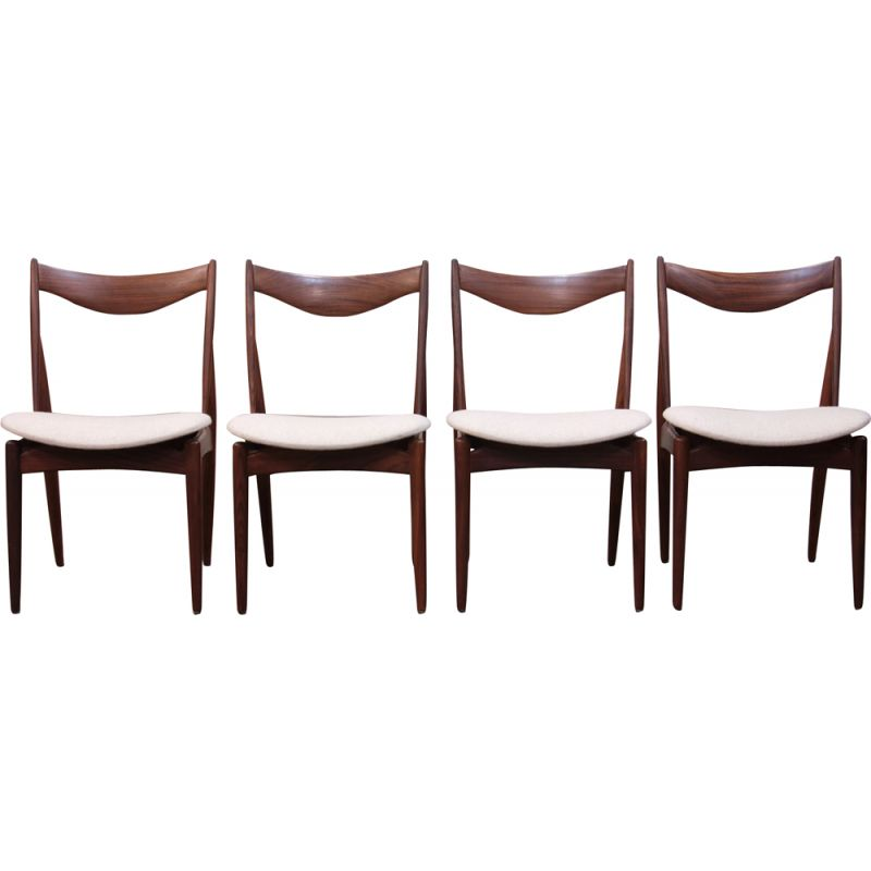 Set of 4 vintage scandinavian chairs by Kurt Ostervig for Bramin, 1960s