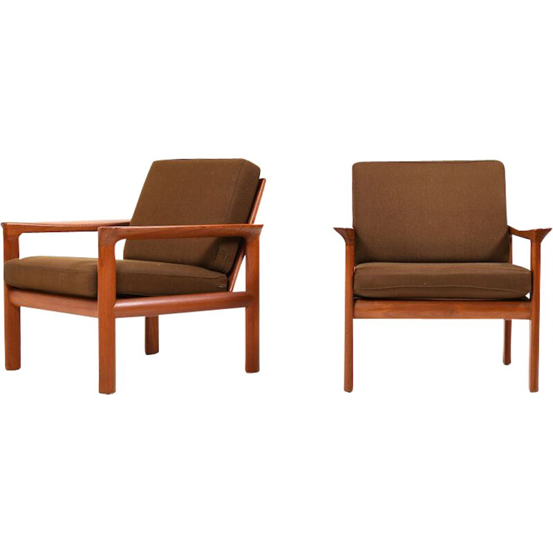 Set of 2 vintage teak armchairs by Sven Ellekær for Komfort, 1970s