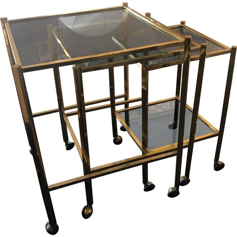 Set of 3 vintage brass and smoked glass nesting tables, 1960