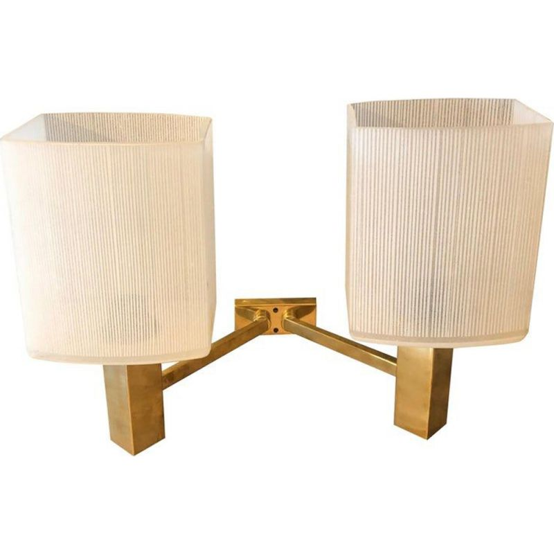 Set of 3 vintage brass wall lights, Italy, 1960s