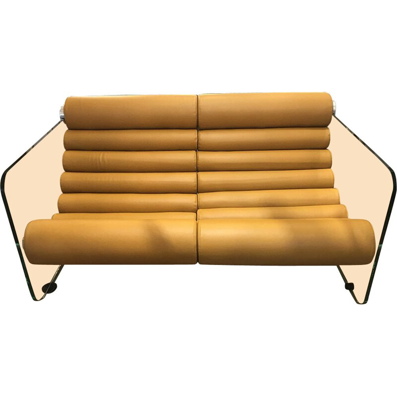 Hyaline leather sofa vintage leather tawny glass by Fabio Lenci Circa 1969