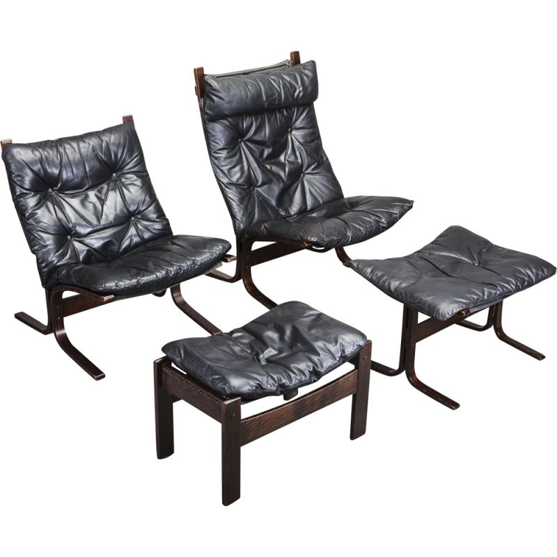 Set of 2 vintage lounge chairs & ottoman by Ingmar Relling for Westnofa, 1960