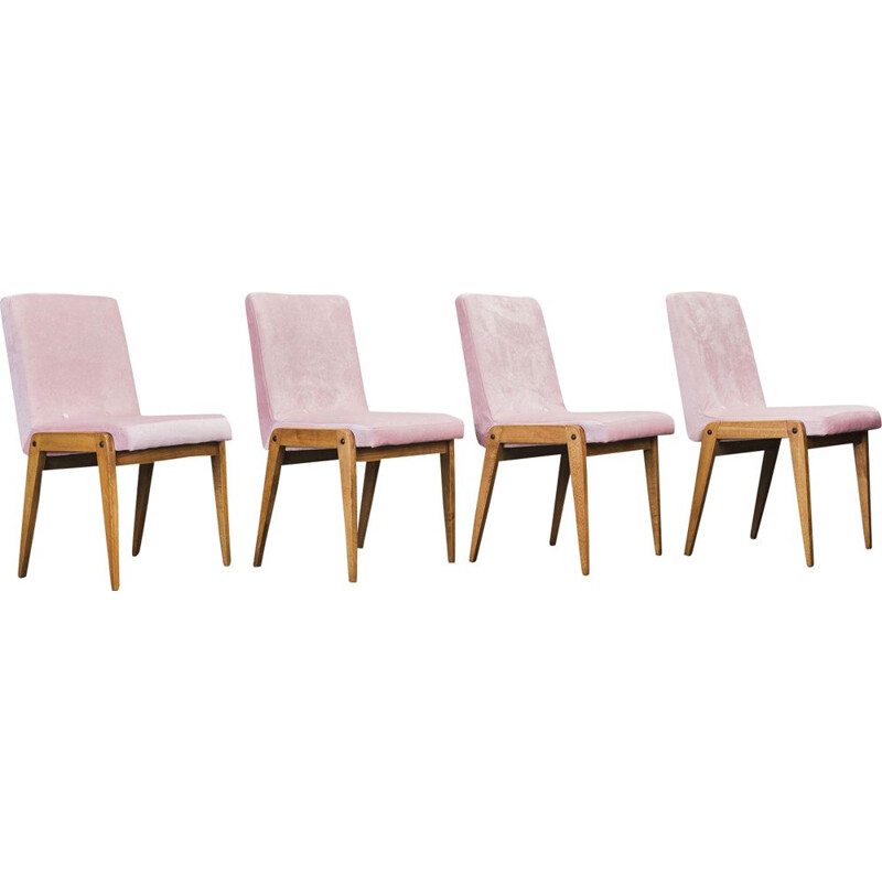 Set of 4 vintage Aga dining chairs by Józef Chierowski 1970