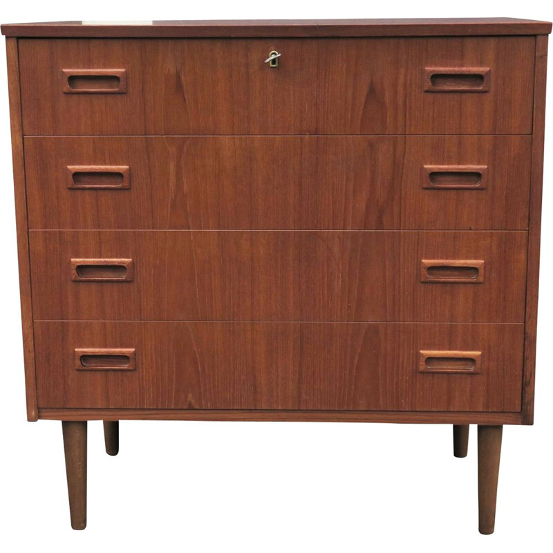 Vintage Danish teak chest of drawers with 4 drawers, 1960s