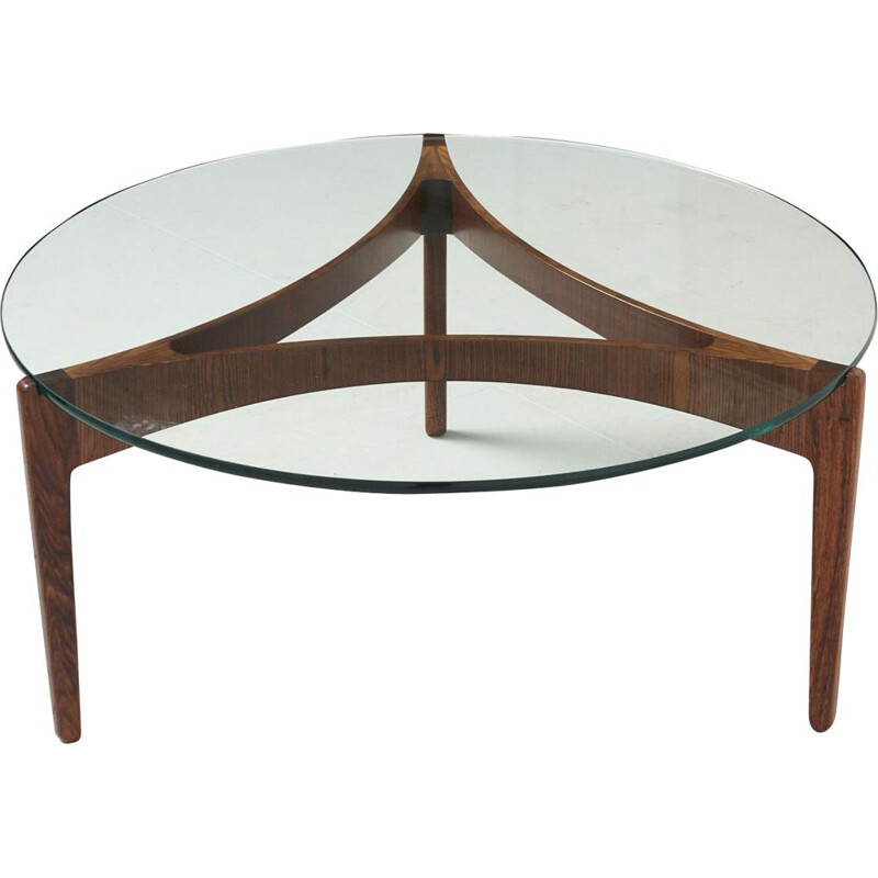 Vintage 3 legged coffee table in rosewood by Sven Ellekaer Christian Linneberg