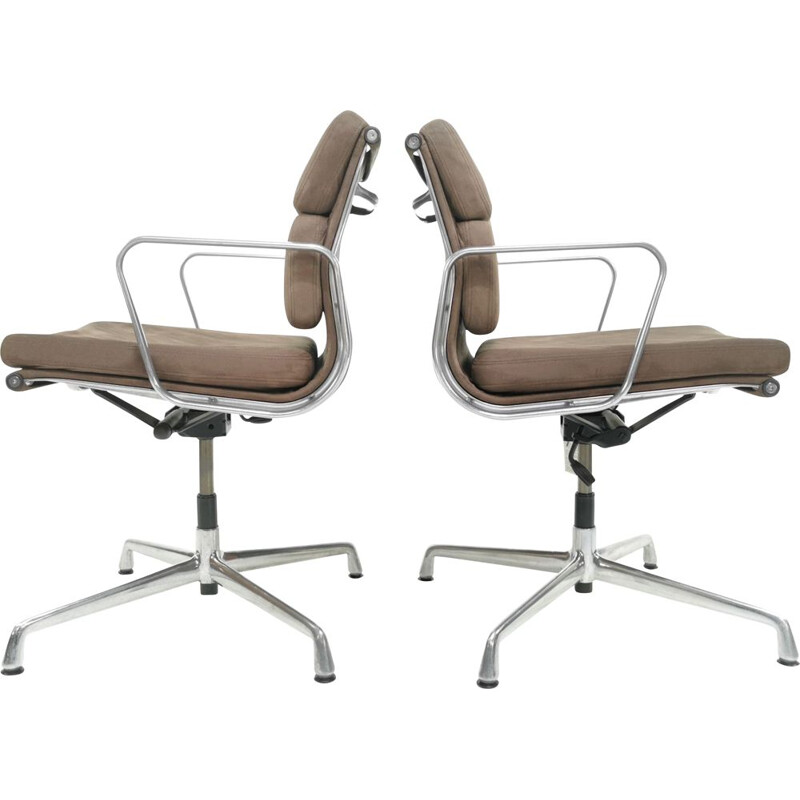 Pair of vintage Eames ICF soft pad aluminium swivel desk armchair