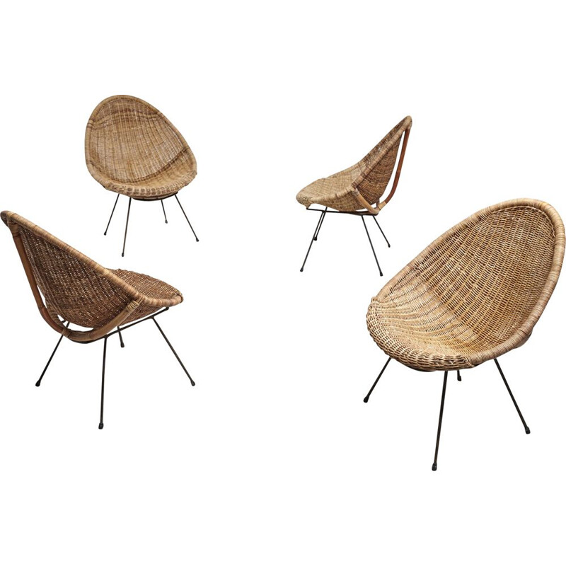 Set of 4 vintage italian rattan chairs on black steel legs, 1950s