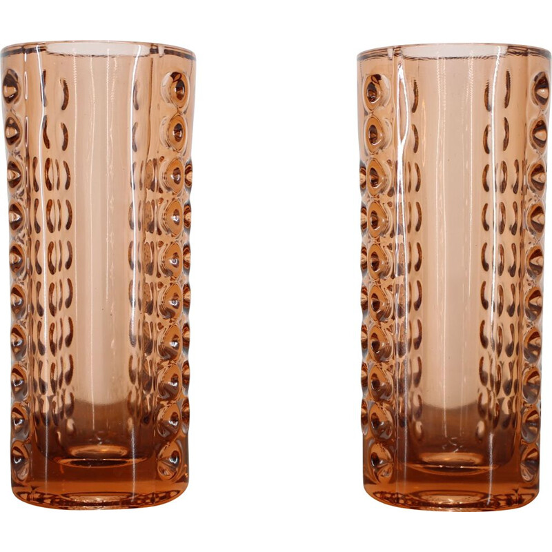 Pair of vintage glass vases by Rudolf Jurnikl, Czechoslovakia, 1962