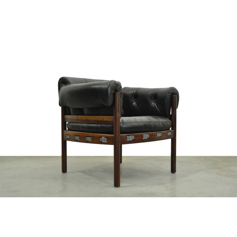 Vintage armchair in black leather from COJA, Sweden, 1960s
