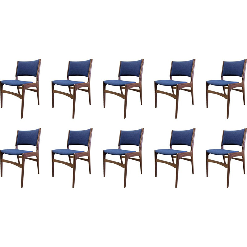 Set of 10 vintage teak dining chairs by Erik Buch