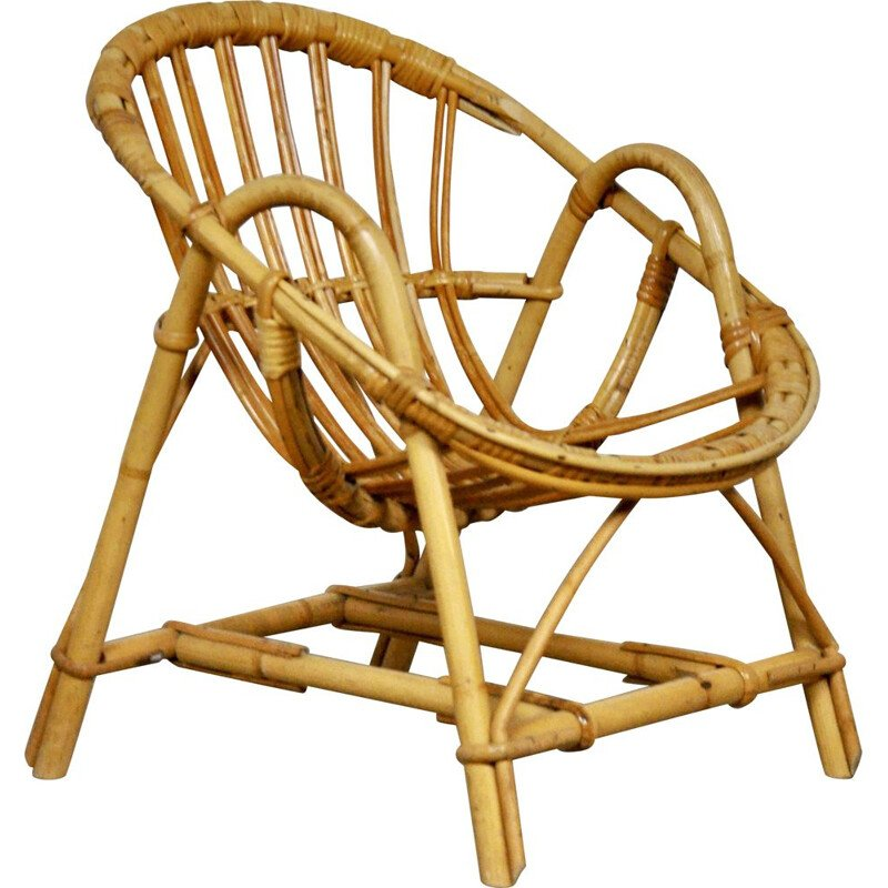 Vintage rattan chair for children 1960s