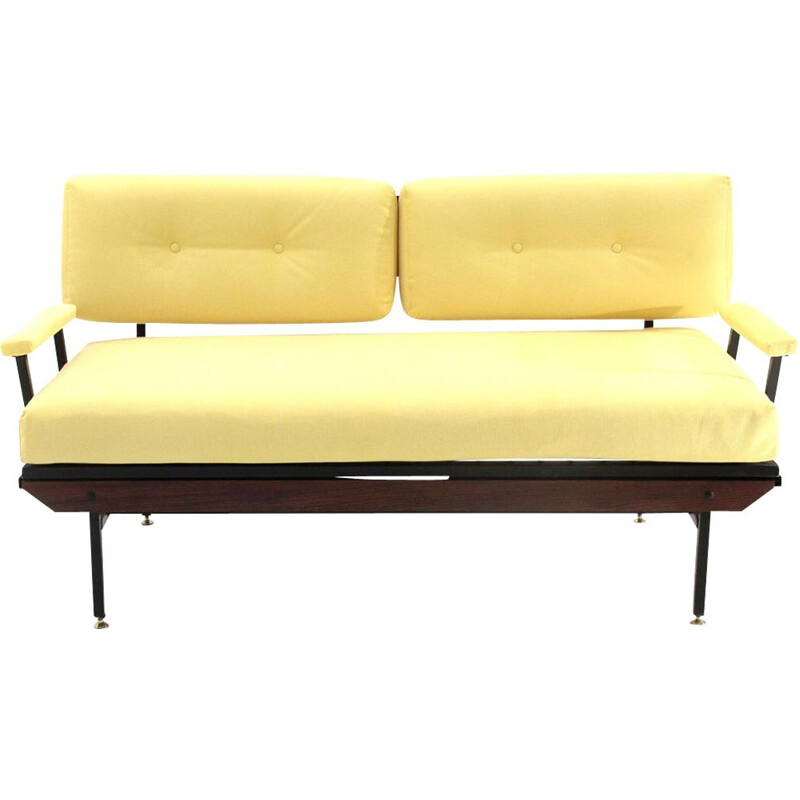 Vintage yellow fabric sofa bed, 1950s