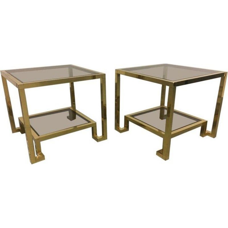 Set of 2 vintage brass and tinted glass side tables by Guy Lefèvre for Maison Jansen, 1970s