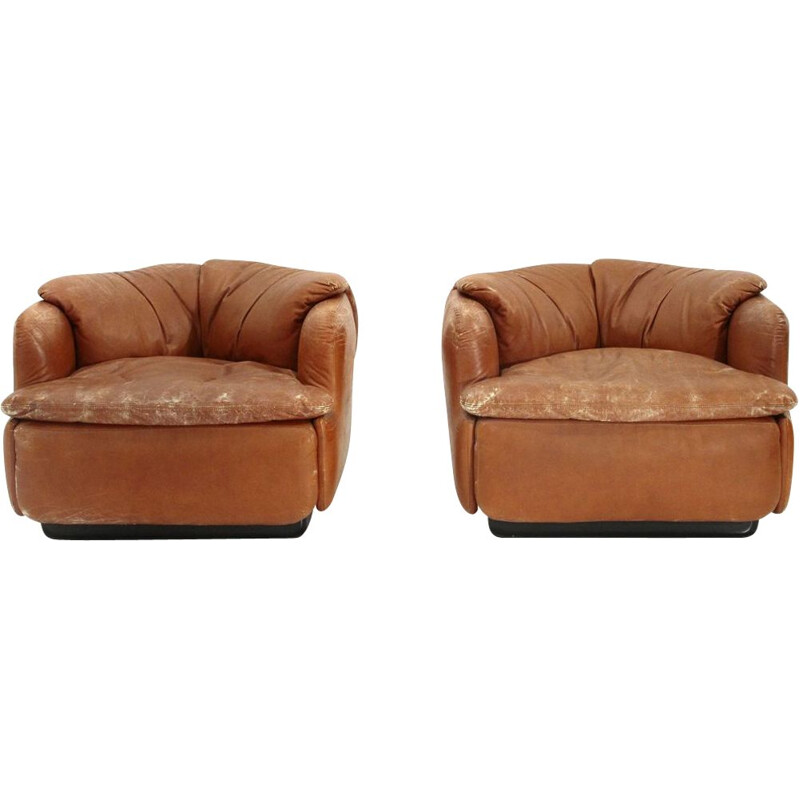 """Set of 2 vintage """"Confidential"""" leather armchairs by Alberto Rosselli for Saporiti, 1970s"""