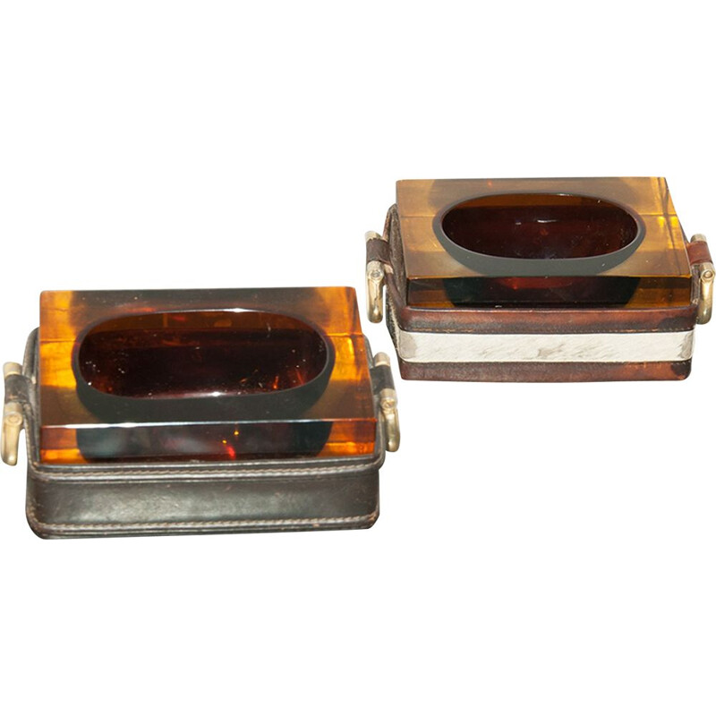 Set of 2 vintage ashtrays in thick glass and leather, 1970s
