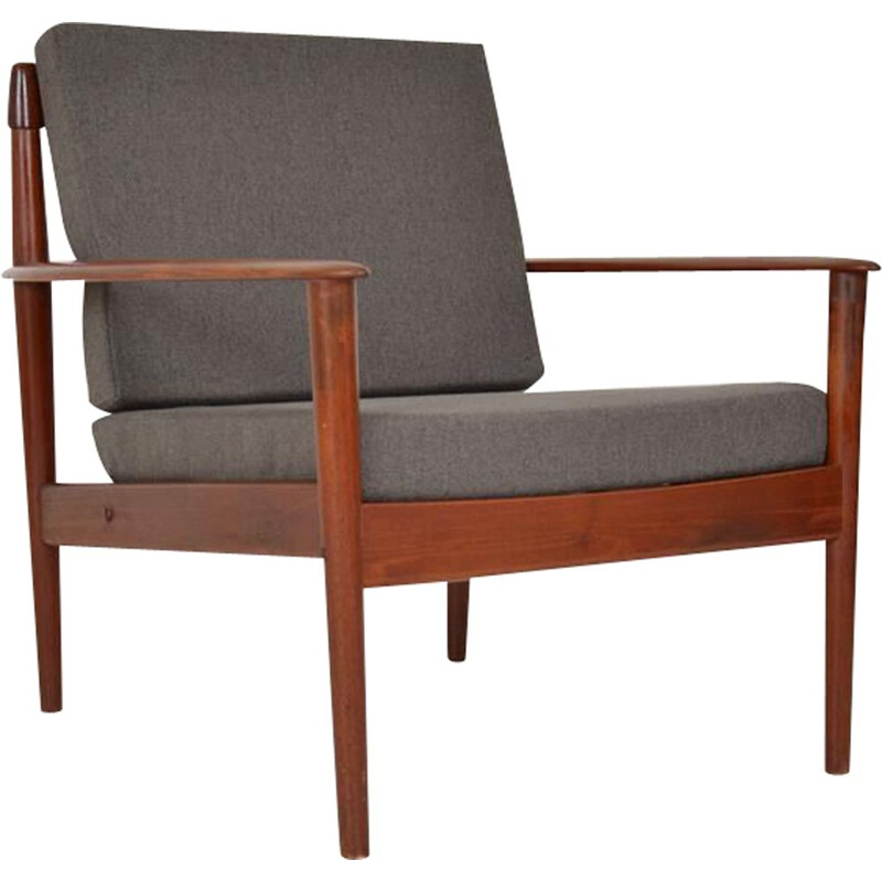 Vintage teak and fabric armchair by Grete Jalk, 1960s