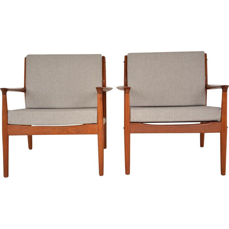Set of 2 vintage teak armchairs by Grete Jalk, 1960s