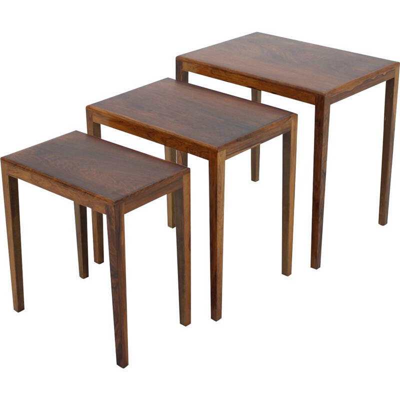 Vintage rosewood nesting tables, Denmark, 1960s