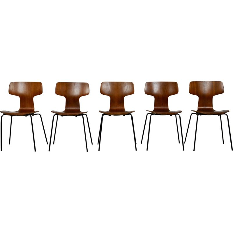 Set of 5 vintage T Chairs or Hammer Chairs by Arne Jacobsen for Fritz Hansen, 1960