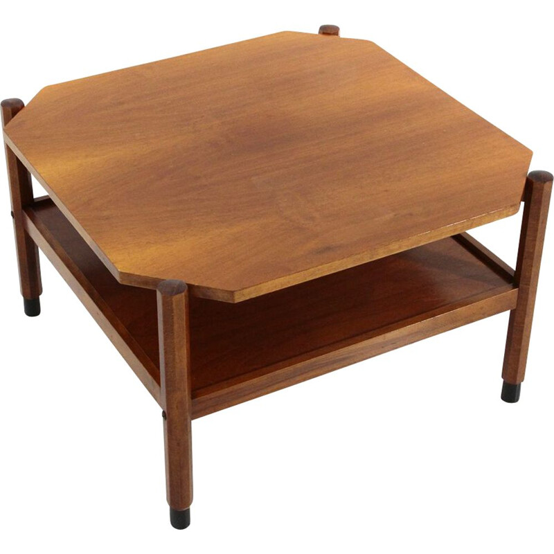 Vintage square teak coffee table, 1960s