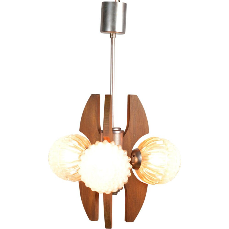 Vintage chandelier model HE-2380 by Elektrofem Isz, Hungary, 1960s