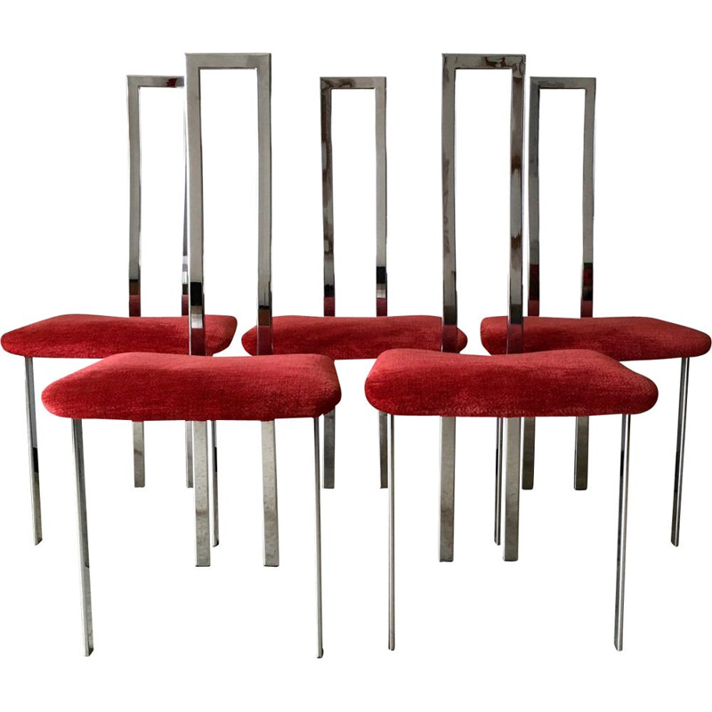 Set of 5 vintage chromed chairs by Giorgio Cattelan