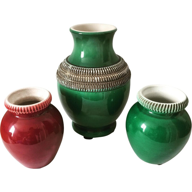 Set of 3 vintage red and green enamelled ceramic vases by Pol Chambost