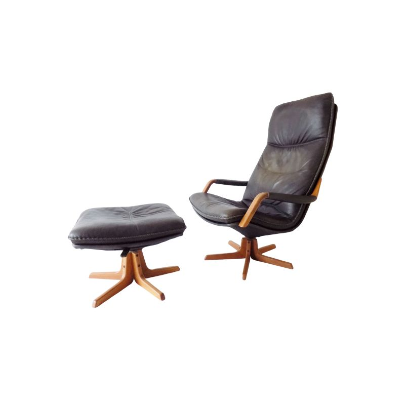 Leather vintage armchair with ottoman by Berg, 1970s