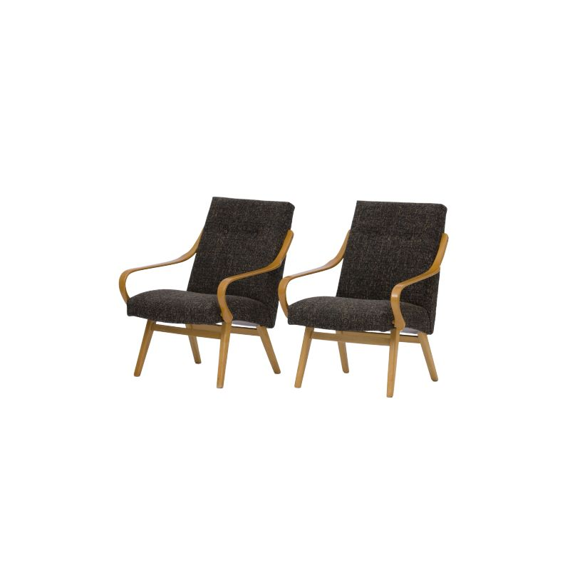 Pair of black vintage TON chairs, 1960s