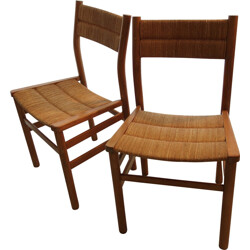 Vergnères pair of chairs in ash and straw, Pierre GAUTIER-DELAYE - 1950s