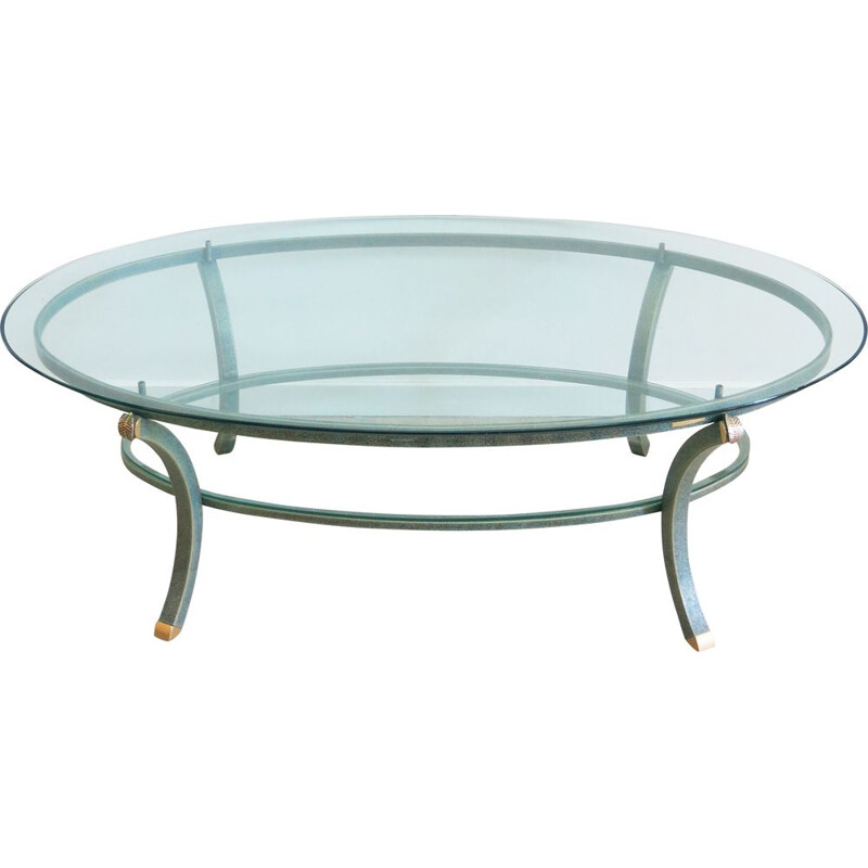 Vintage oval coffee table by Pierre Vandel, 1970s