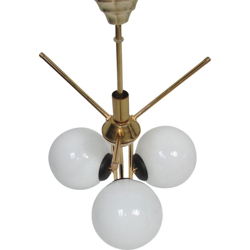 Vintage 3 globe chandelier in brass and metal, 1970