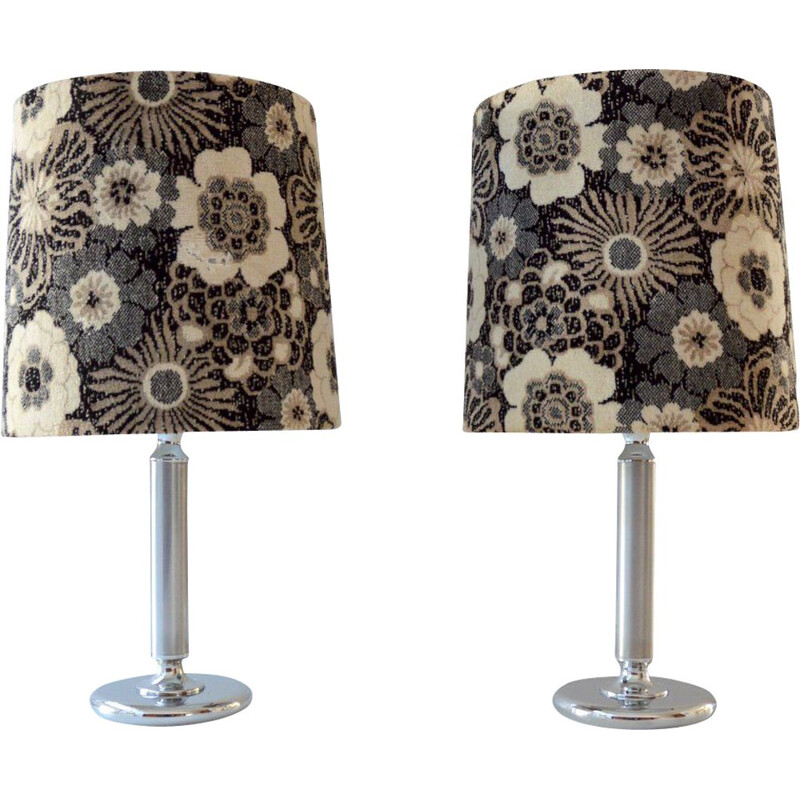 Pair of large vintage table lamps in flowered velvet 1970