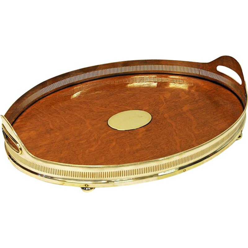 Vintage oval oak serving tray by Mappin & Webb, London