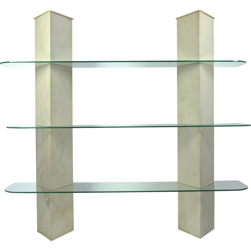 Vintage travertine and glass bookcase, Italy, 1970s