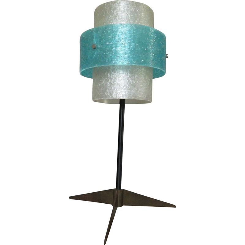 Vintage scandinavian tripod lamp in brass and perspex, 1960s