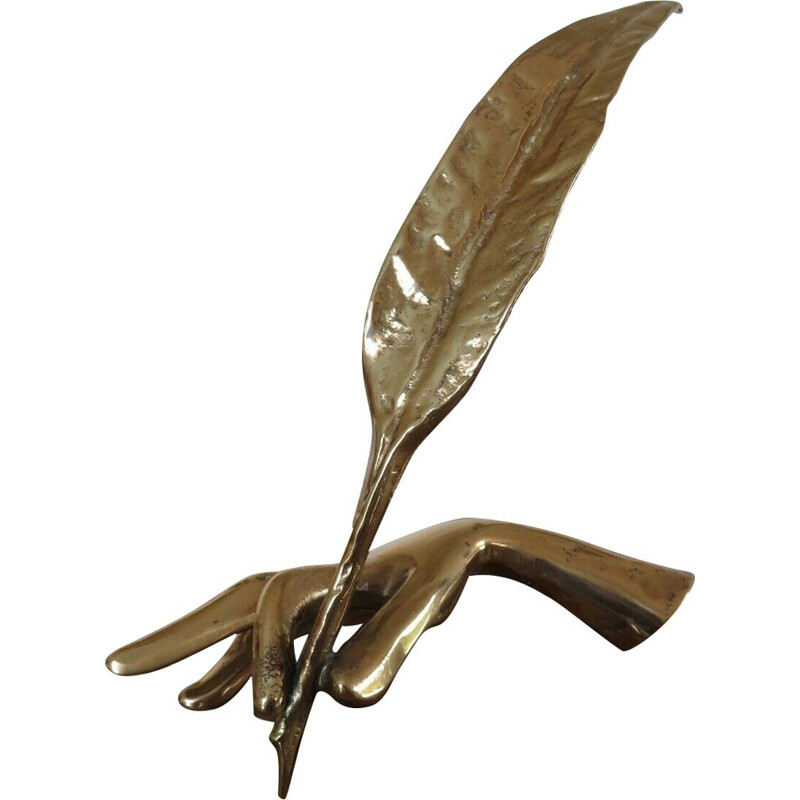 Vintage sculpture in gilded bronze by Yves Lohe, 1970s