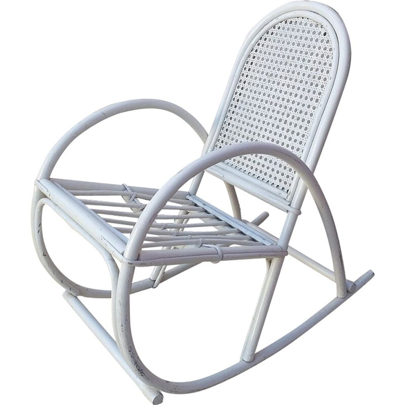 Vintage rocking chair in white rattan, 1970s