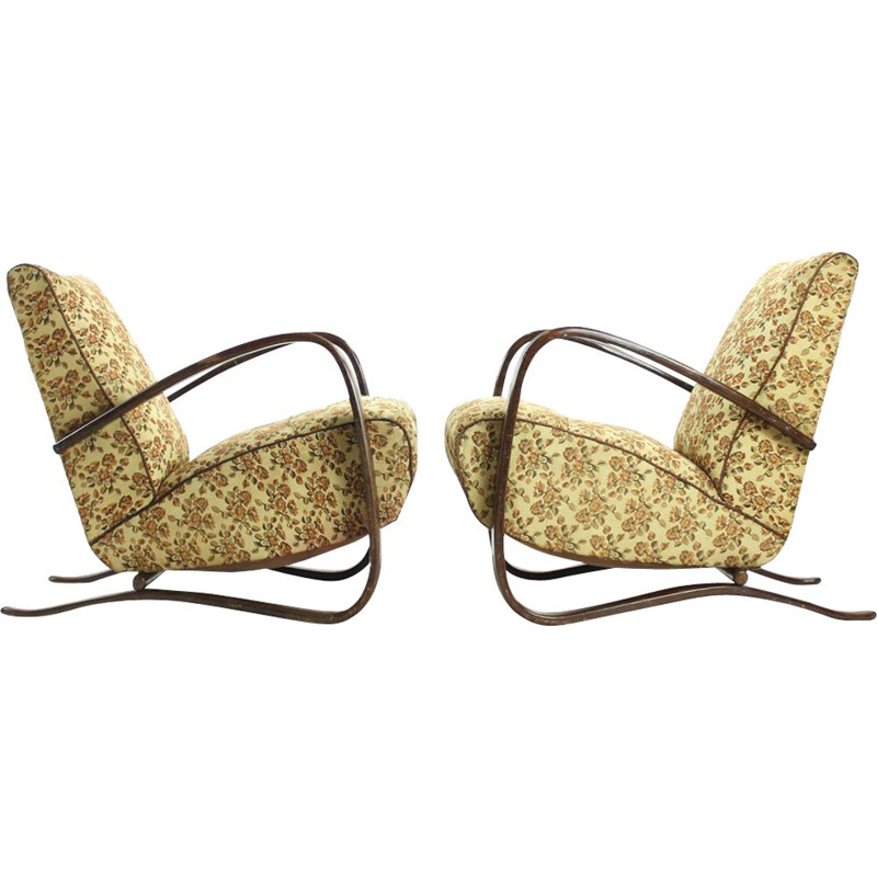 Set of 2 vintage H269 armchairs by Jindrich Halabala for Up Zavody, 1930s